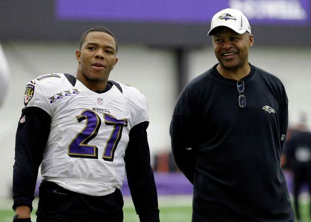 Baltimore Ravens running back Ray Rice, left, stands with offensive coordinator Jim Caldwell during NFL football practice at the team's training facility in Owings Mills, Md., Friday, Jan. 25, 2013. The Ravens are scheduled to face the San Francisco 49ers in Super Bowl XLVII in New Orleans on Sunday, Feb. 3. (AP Photo/Patrick Semansky) Photo: Patrick Semansky, Associated Press / AP