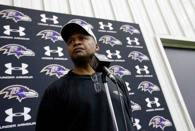Baltimore Ravens offensive coordinator Jim Caldwell speaks at a news conference at the team's training facility in Owings Mills, Md., Friday, Jan. 25, 2013. The Ravens are scheduled to face the San Francisco 49ers in NFL football's Super Bowl XLVII in New Orleans on Sunday, Feb. 3. (AP Photo/Patrick Semansky) Photo: Patrick Semansky, Associated Press / AP