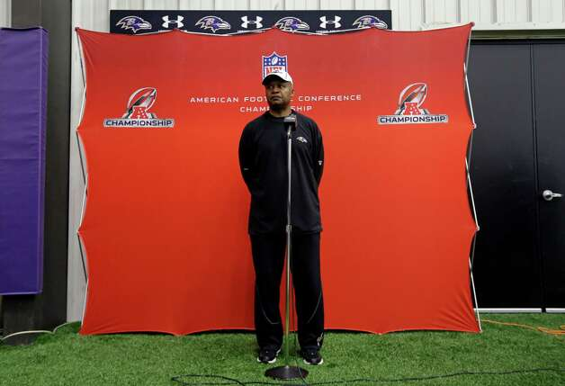 Baltimore Ravens offensive coordinator Jim Caldwell speaks during a news conference at the team's practice facility in Owings Mills, Md., Thursday, Jan. 17, 2013. The Ravens are scheduled to face the New England Patriots in the AFC Championship on Sunday. (AP Photo/Patrick Semansky) Photo: Patrick Semansky, Associated Press / AP