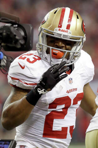 San Francisco 49ers running back LaMichael James reacts to a play during the first half of the NFL football NFC Championship game against the Atlanta Falcons Sunday, Jan. 20, 2013, in Atlanta. (AP Photo/Mark Humphrey) Photo: Mark Humphrey, Associated Press / AP