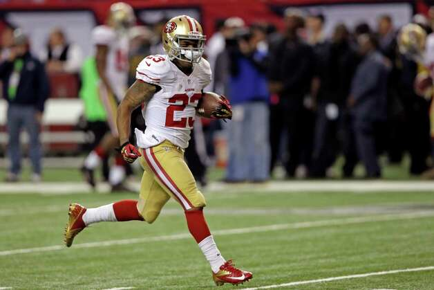 San Francisco 49ers' LaMichael James warms up before the NFL football NFC Championship game against the Atlanta Falcons Sunday, Jan. 20, 2013, in Atlanta. (AP Photo/John Bazemore) Photo: John Bazemore, Associated Press / AP