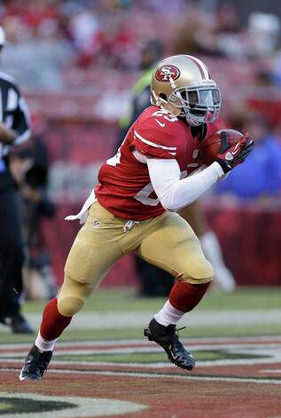 San Francisco 49ers running back LaMichael James (23) returns the opening kickoff against the San Diego Chargers during the first quarter of an NFL preseason football game in San Francisco, Thursday, Aug. 30, 2012. (AP Photo/Marcio Jose Sanchez) Photo: Marcio Jose Sanchez, Associated Press / AP