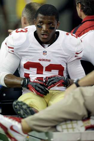 San Francisco 49ers running back LaMichael James (23) is carted off the filed after being injured against the Houston Texans in the fourth quarter an NFL preseason football game Saturday, Aug. 18, 2012, in Houston. The Texans beat the 49ers 20-9. (AP Photo/David J. Phillip) Photo: David J. Phillip, Associated Press / AP