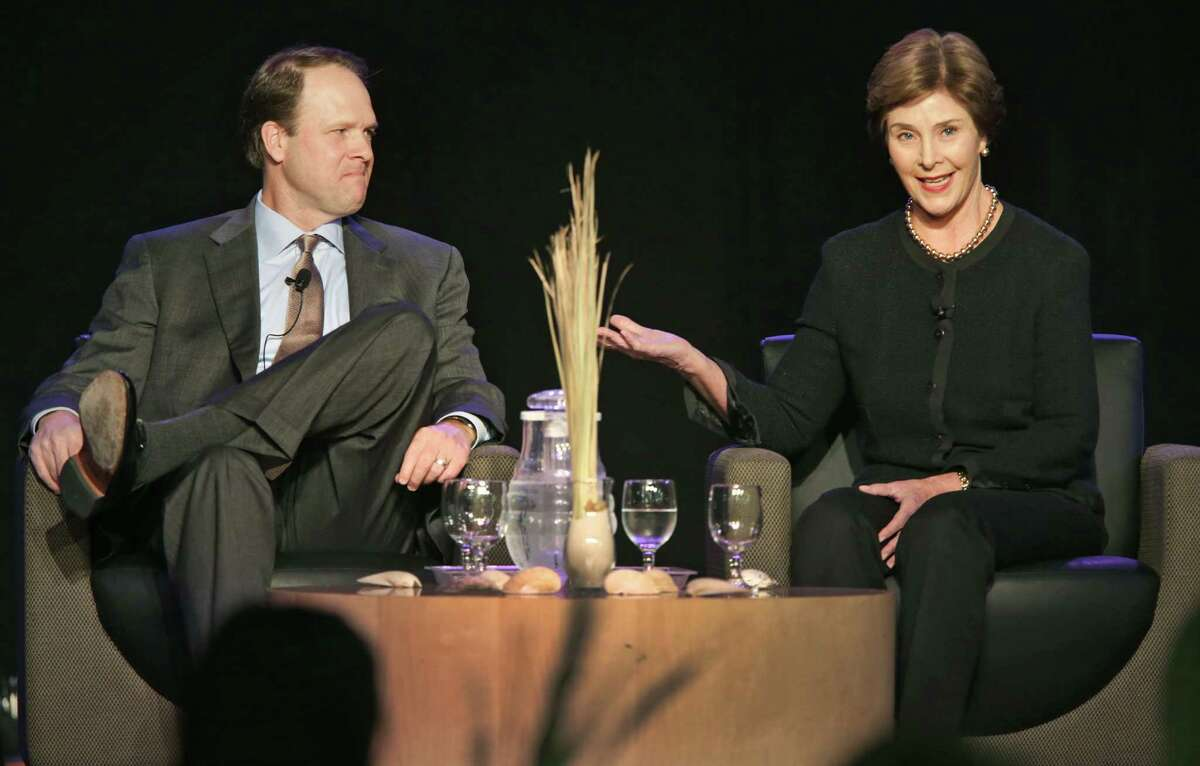 Former First Lady Laura Bush, right, and Carter Smith, Executive Director Texas Parks and Wildlife Department, answer questions at the Texas Natural Resource/Environmental Literacy Summit for Leadership and Action, Friday, Jan. 25, 2013, held at TriPoint Conference Center. Mrs. Bush was the keynote speaker.
