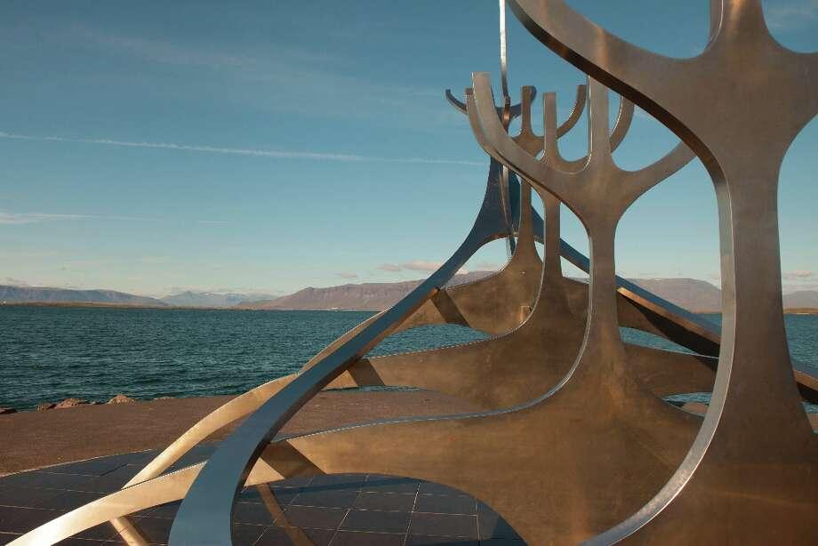 Sculpture along the harbor in Reykjavik.
