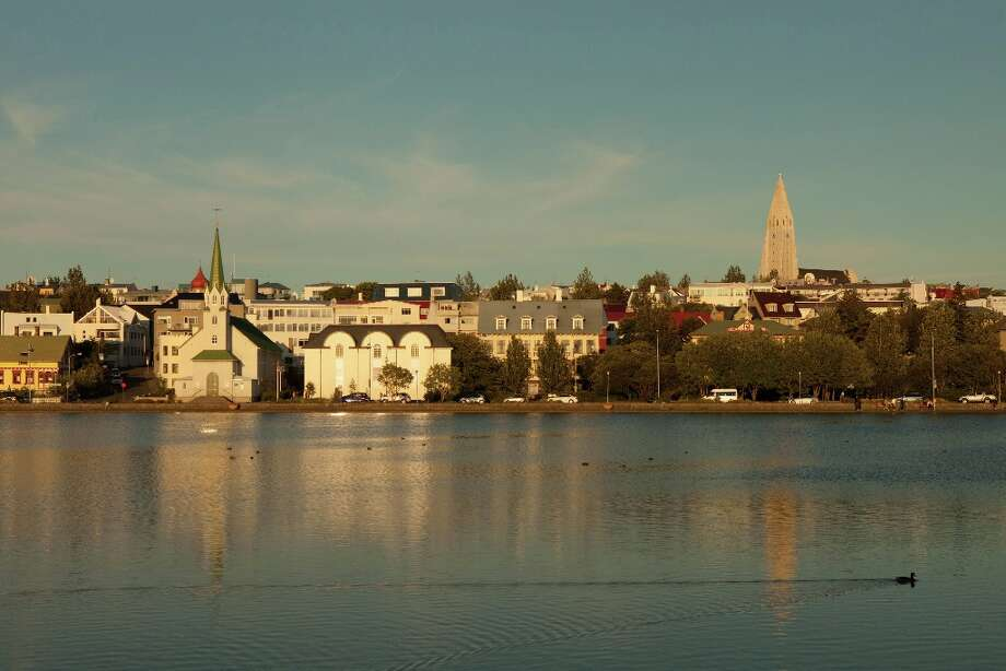 The view across Tjornin pond in Reykjavik.