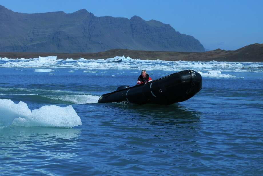 A Zodiac on Jokulsarlon, a lagoon on the southeastern side of Iceland.
