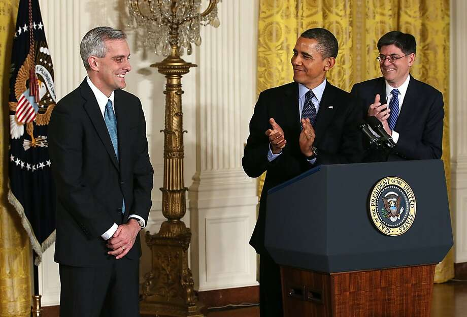 *** BESTPIX *** WASHINGTON, DC - JANUARY 25:  U.S. President Barack Obama (C) and White House Chief of Staff Jack Lew (R) applaud as Deputy National Security Adviser Denis McDonough (L) look on during a personnel announcement at the East Room of the White House January 25, 2013 in Washington, DC. President Obama has appointed McDonough to replace Lew to be the new White House chief of staff.  (Photo by Alex Wong/Getty Images) Photo: Alex Wong, Getty Images