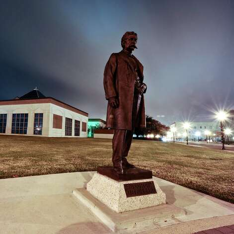 "A thirty second exposure of the statue of George O'Brien Millard, known as the ""father"" of the Beaumont public school system after being a co-founder. He was the Beaumont Independent School District president from 1901-1909 and an advocator for better schools for blacks.  Photo taken: Randy Edwards/The Enterprise"