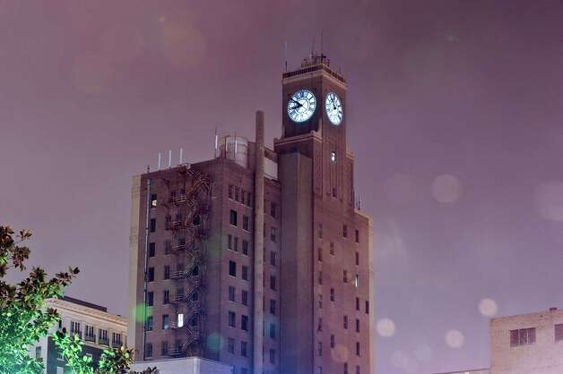 A thirty second exposure of the San Jacinto building in downtown Beaumont on December 5, 2012. Photo taken: Randy Edwards/The Enterprise