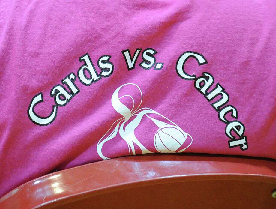 """Cards vs. Cancer"" was the benefit-theme for the girls high school basketball game between Greenwich High School and Harding High School at Greenwich, Friday night, Jan. 25, 2013. Photo: Bob Luckey / Greenwich Time"