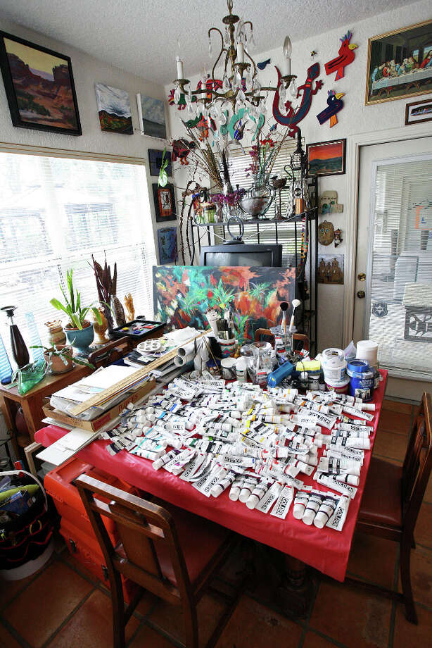 Henry Cardenas took over the breakfast table by the kitchen for use as his studio. Photo: Danny Warner
