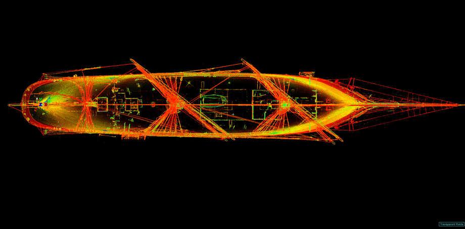 SmartGeoMetrics used a Leica HDS7000 laser scanner to produce a 3D representation of Elissa in dry dock at Bollinger Shipyards. Photo: Courtesy SmartGeoMetrics