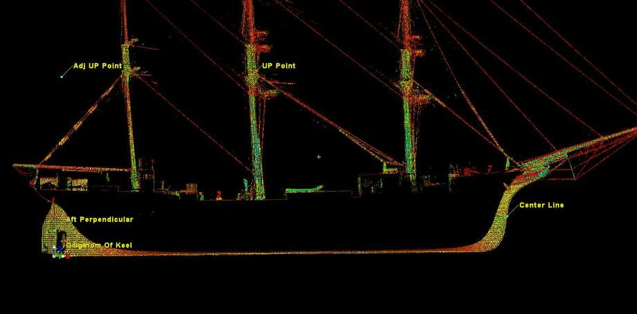 SmartGeoMetrics used a Leica HDS7000 laser scanner to produce a 3D representation of Elissa in dry dock at Bollinger Shipyards. Photo: Courtesy SmartGeoMetrics