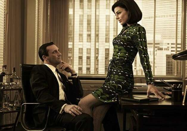 Jessica Paré and Jon Hamm in a scene from Mad Men.