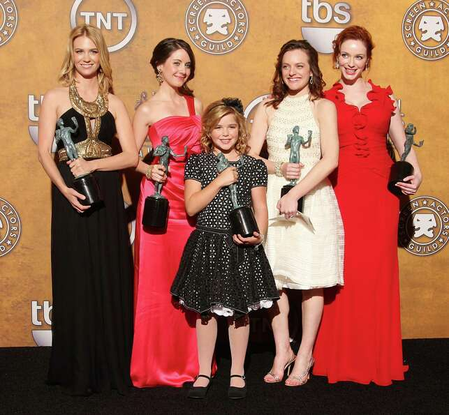 'Mad Men' cast in 2009, with Screen Actor Guild awards. From L-R: January Jones, Alison Brie, Kierna