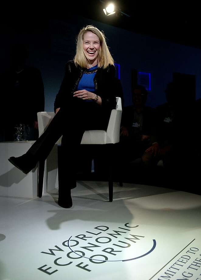 Marissa Mayer, CEO of Yahoo!, attends a session of the World Economic Forum 2013 Annual Meeting on January 25, 2013 at the Swiss resort of Davos. The World Economic Forum (WEF) is taking place from January 23 to 27. AFP PHOTO / JOHANNES EISELEJOHANNES EISELE/AFP/Getty Images Photo: Johannes Eisele, AFP/Getty Images