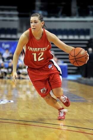 Fairfield's Katelyn Linney dribbles the ball during Friday's MAAC Tournament quarterfinal game at Webster Bank Arena at Harbor Yard on March 4, 2011. Photo: Lindsay Niegelberg, ST / Connecticut Post