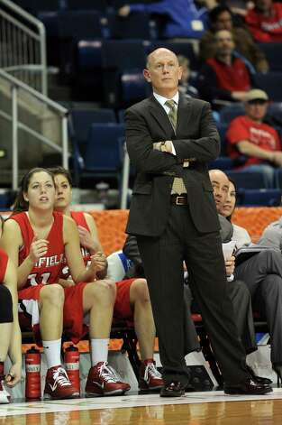 Fairfield coach Joe Frager watches his team during Friday's MAAC Tournament quarterfinal game at Webster Bank Arena at Harbor Yard on March 4, 2011. Photo: Lindsay Niegelberg, ST / Connecticut Post
