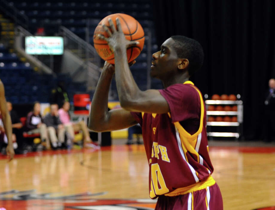 St. Joseph's #30 Reid Raekwon, during boys basketball action against Bassick at the Webster Bank Arena in Bridgeport, Conn. on Friday January 25, 2013. Photo: Christian Abraham / Connecticut Post