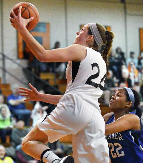 Bethlehem's #24 Gabby Giacone goes for two in Friday's game against Shaker at Bethlehem High Jan. 25