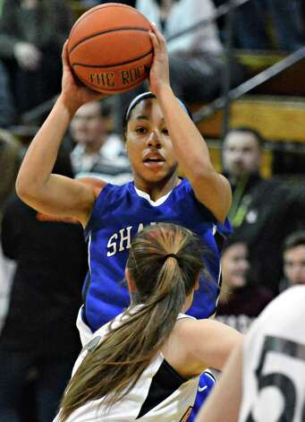 Shaker's #12 Madison Rowland during Friday's game at Bethlehem High Jan. 25, 2013.  (John Carl D'Annibale / Times Union) Photo: John Carl D'Annibale / 10020885A