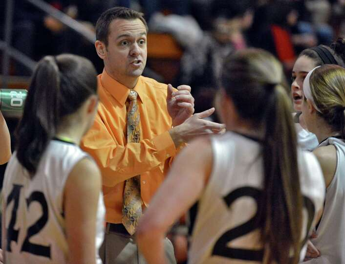 Bethlehem head coach Matt Bixby with players during Friday's game against Shaker at Bethlehem High J