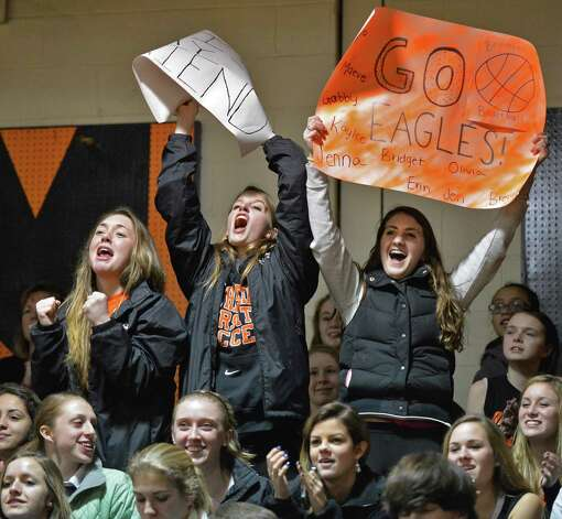 Bethlehem fans chear their team during Friday's game against Shaker at Bethlehem High Jan. 25, 2013.  (John Carl D'Annibale / Times Union) Photo: John Carl D'Annibale / 10020885A