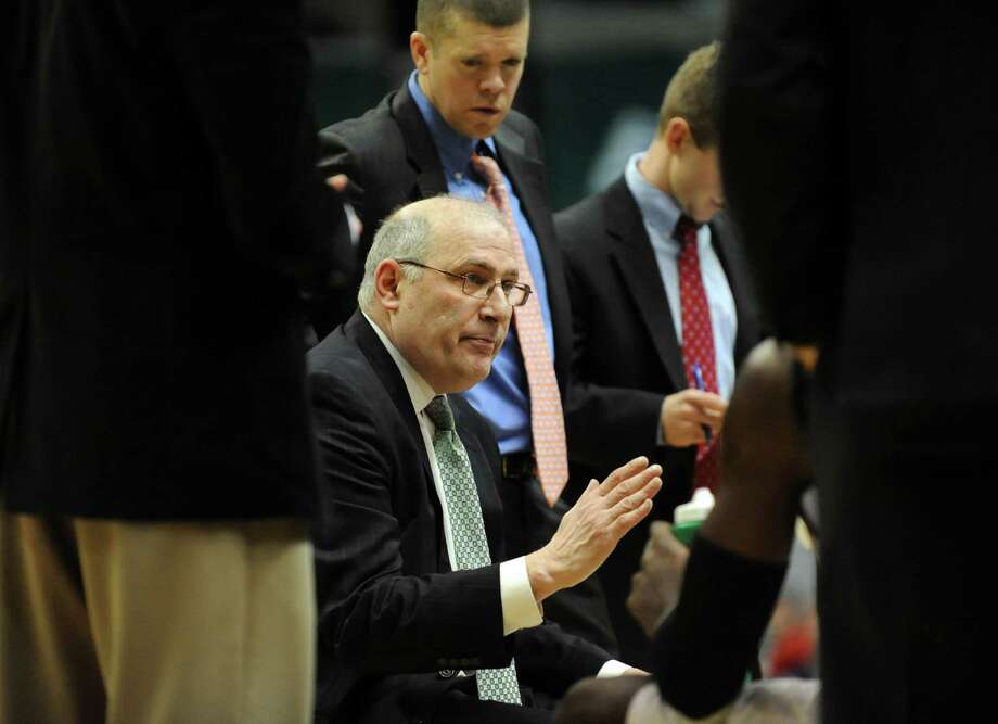Siena's coach huddles with his team during their basketball game  against Niagara on Friday, Jan. 25, 2013, at Times Union Center in Albany, N.Y. (Cindy Schultz / Times Union) Photo: Cindy Schultz / 00020763A
