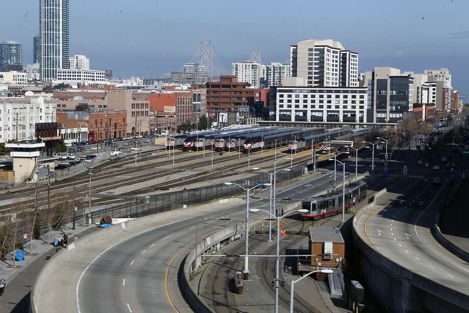 The Caltrain rail yard as seen from the I-280 overpass on Friday Jan. 25,  2013, in San Francisco, Calif. San Francisco's plans for South of Market is more than simply tearing down I-280. The city would like to shrink, eliminate or possibly reroute the Caltrain yard to make room for a new neighborhood. Photo: Jessica Olthof, The Chronicle
