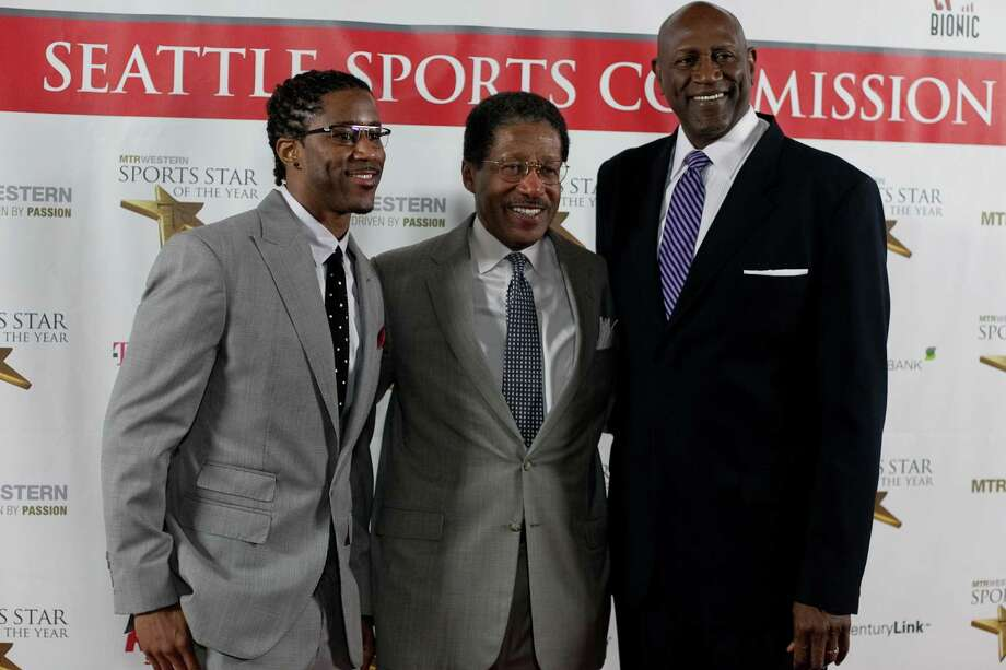 NFL player Nate Burleson, George Northcroft, and retired NBA player Spencer Haywood stop on the red carpet during the 78th annual Sports Star of the Year awards at Benaroya Hall on Friday, January 25, 2013. Photo: JOSHUA TRUJILLO, SEATTLEPI.COM / SEATTLEPI.COM