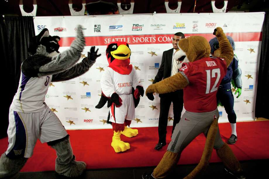 Mascots from the University of Washington, Seattle University, Washington State University and the Seattle Seahawks gather with Nigel Denman on the red carpet during the 78th annual Sports Star of the Year awards at Benaroya Hall on Friday, January 25, 2013. Photo: JOSHUA TRUJILLO, SEATTLEPI.COM / SEATTLEPI.COM
