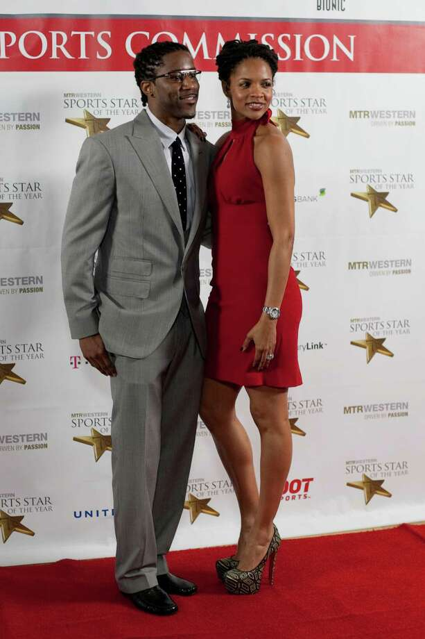 Nate Burleson and his wife Atoya Burleson stop on the red carpet during the 78th annual Sports Star of the Year awards at Benaroya Hall on Friday, January 25, 2013. Photo: JOSHUA TRUJILLO, SEATTLEPI.COM / SEATTLEPI.COM