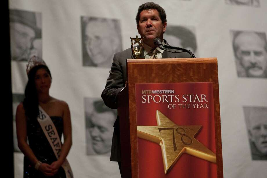 Former Mariner Edgar Martinez accepts the Royal Brougham Legend Award during the 78th annual Sports Star of the Year awards at Benaroya Hall on Friday, January 25, 2013. Photo: JOSHUA TRUJILLO, SEATTLEPI.COM / SEATTLEPI.COM