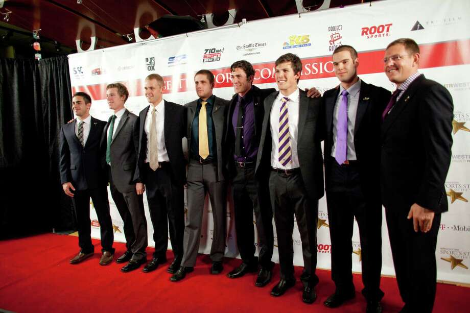 The UW Mens Rowing Team stops on the red carpet during the 78th annual Sports Star of the Year awards at Benaroya Hall on Friday, January 25, 2013. Photo: JOSHUA TRUJILLO, SEATTLEPI.COM / SEATTLEPI.COM