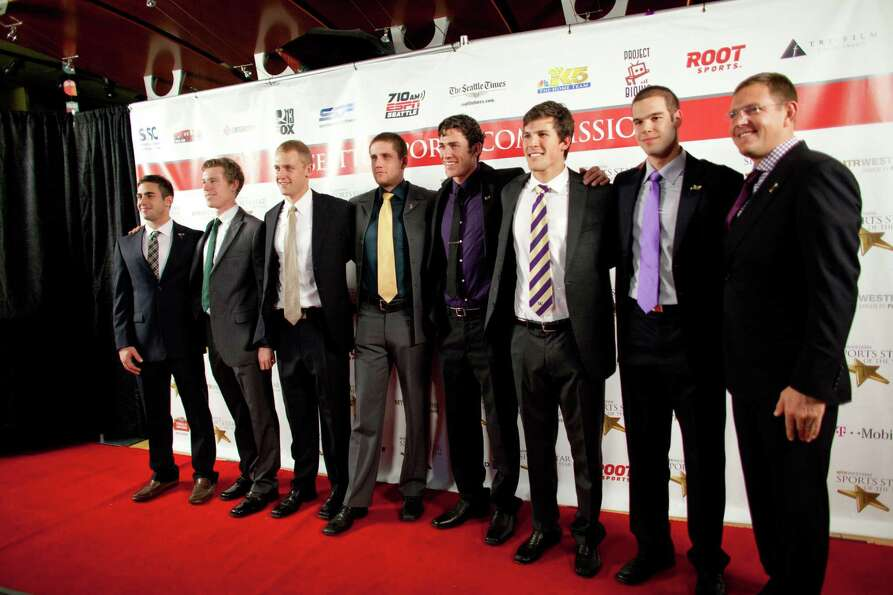 The UW Mens Rowing Team stops on the red carpet during the 78th annual Sports Star of the Year award