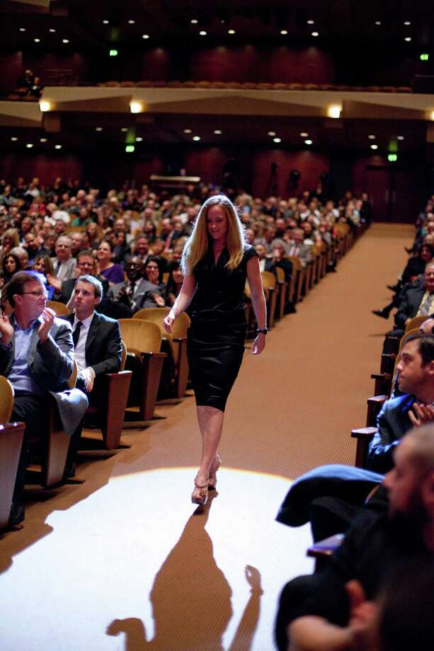 USA rower and Female Sports Star of the Year winner for 2012 Mary Whipple takes the stage during the 78th annual Sports Star of the Year awards at Benaroya Hall on Friday, January 25, 2013. Photo: JOSHUA TRUJILLO, SEATTLEPI.COM / SEATTLEPI.COM
