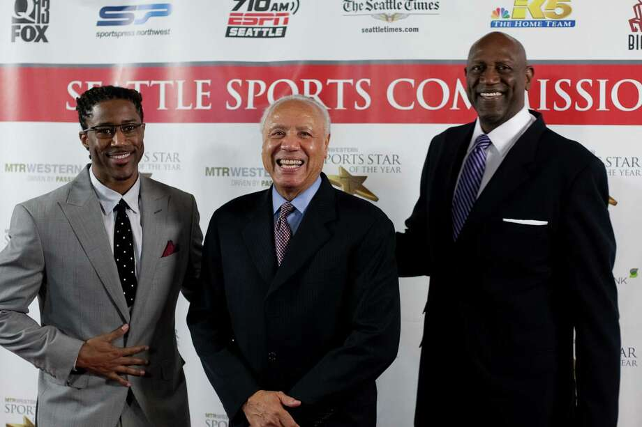 From left, NFL player Nate Burleson, retired NBA player and coach Lenny Wilkens, and retired NBA player Spencer Haywood stop on the red carpet during the 78th annual Sports Star of the Year awards at Benaroya Hall on Friday, January 25, 2013. Photo: JOSHUA TRUJILLO, SEATTLEPI.COM / SEATTLEPI.COM