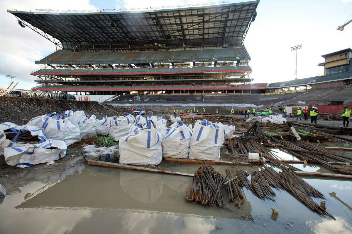 The newly rebuild south grandstand is shown from the field during a tour of the Husky Stadium construction site on Friday, January 25, 2013. The stadium is undergoing a rebuild and is planned to open in time from the 2013 football season.