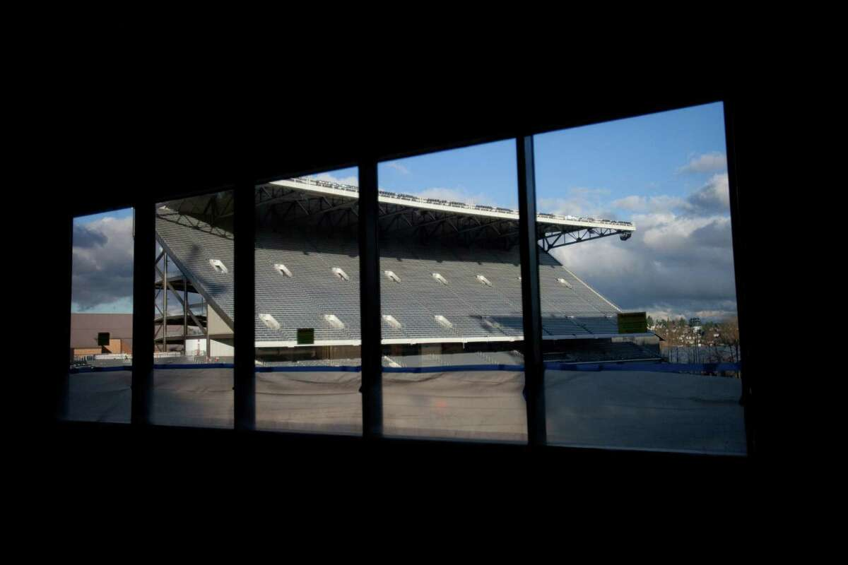 The north grandstand is shown from the future coaching offices during a tour of the Husky Stadium construction site on Friday, January 25, 2013. The stadium is undergoing a rebuild and is planned to open in time from the 2013 football season.