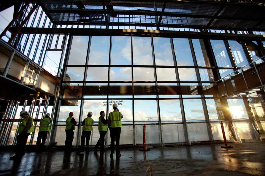 A view from the suite level is shown during a tour of the Husky Stadium construction site on Friday,