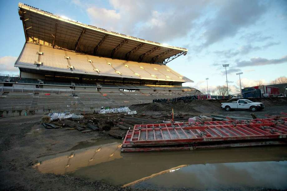 The north grandstand is seen from the field during a tour of the Husky Stadium construction site on Friday, January 25, 2013. The stadium is undergoing a rebuild and is planned to open in time from the 2013 football season. Photo: JOSHUA TRUJILLO, SEATTLEPI.COM / SEATTLEPI.COM