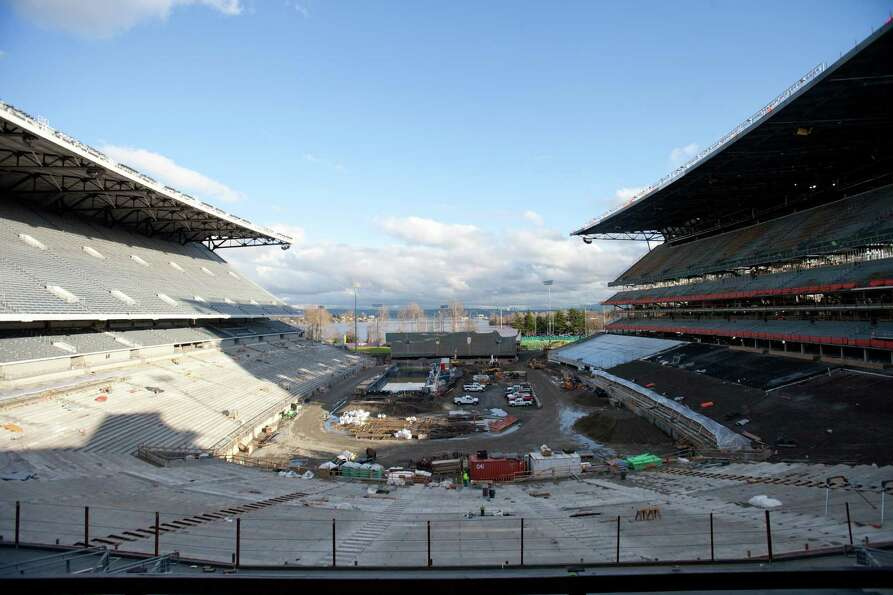 The field is shown during a tour of the Husky Stadium construction site on Friday, January 25, 2013.