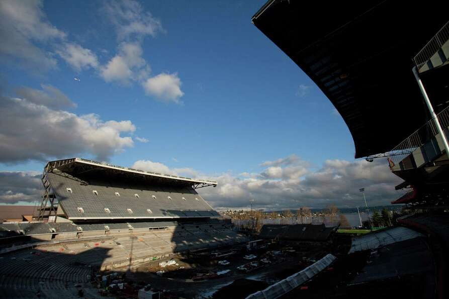 The view looking northeast during a tour of the Husky Stadium construction site on Friday, January 2