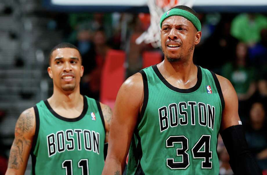 ATLANTA, GA - JANUARY 25:  Paul Pierce #34 of the Boston Celtics reacts after a turnover to the Atlanta Hawks at Philips Arena on January 25, 2013 in Atlanta, Georgia.  NOTE TO USER: User expressly acknowledges and agrees that, by downloading and or using this photograph, User is consenting to the terms and conditions of the Getty Images License Agreement.  (Photo by Kevin C. Cox/Getty Images) Photo: Kevin C. Cox