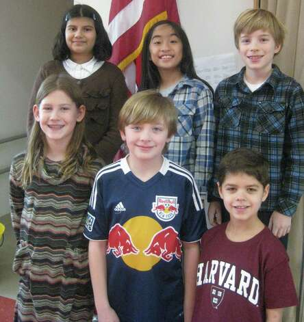 Tokeneke Schoolís Geography Bee contestants were, in front row from left, Greta Hoffmeister, Ian Holly and Ian McCarthy. Back row, Maya Nalawade, Tala Garcia and winner Nicholas Derby. Photo: Contributed