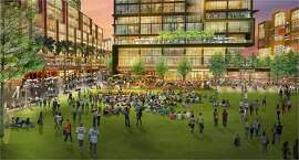 A rendering showing an artist's conception of the proposed Mission Rock development, which the Giants hope to build on the parking lot south of China Basin, across from AT&T Park.