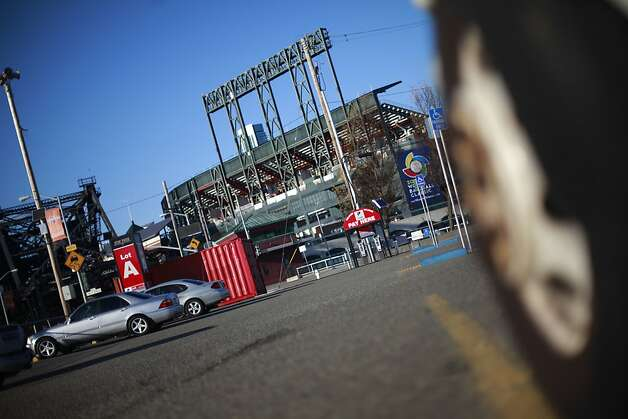 Cars are seen in the parking lot across the channel from AT&T park on Friday, January 25, 2013 in San Francisco, Calif. Photo: Lea Suzuki, The Chronicle