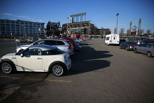 Cars are seen parked in the parking lot across the channel from AT&T park on Friday, January 25, 2013 in San Francisco, Calif. Photo: Lea Suzuki, The Chronicle