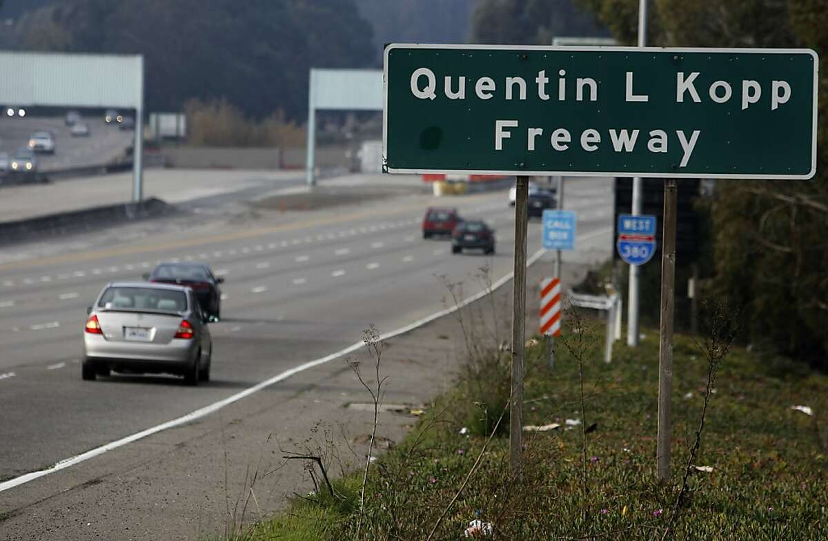 A sign informs travelers that they are driving on the Quentin L. Kopp Freeway, better known as Interstate 380, in San Bruno, Calif. on Friday, Jan. 25, 2013.